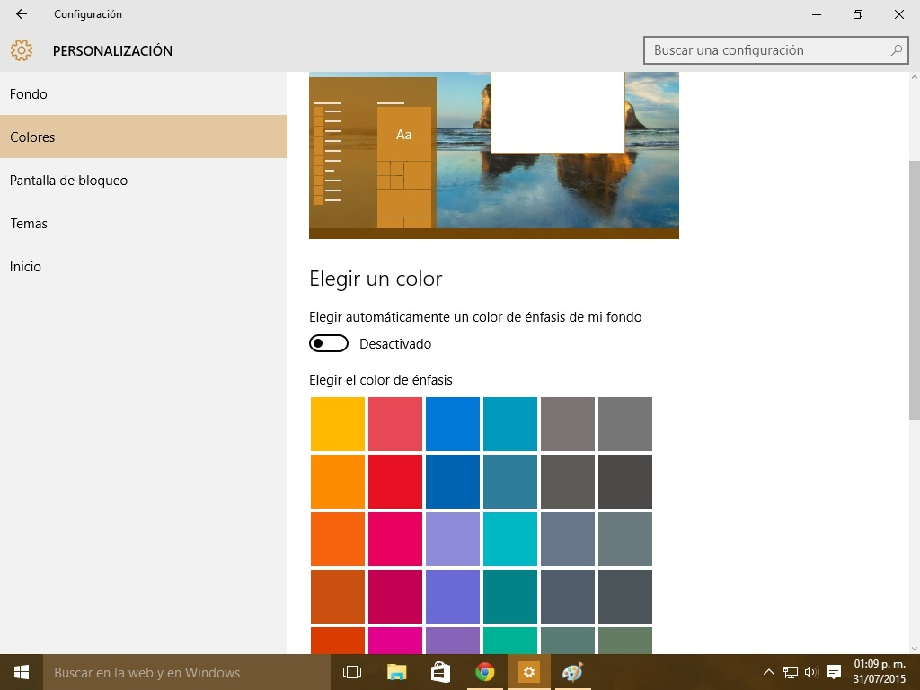 Como cambiar color windows 10